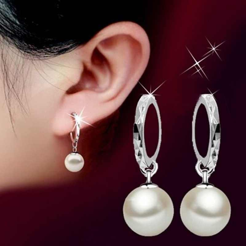 1Pair Fashion Classical Pearl Ear pendants Jewelry Simple Silver Color Hoop Earring Shining Crystal Earrings For Women