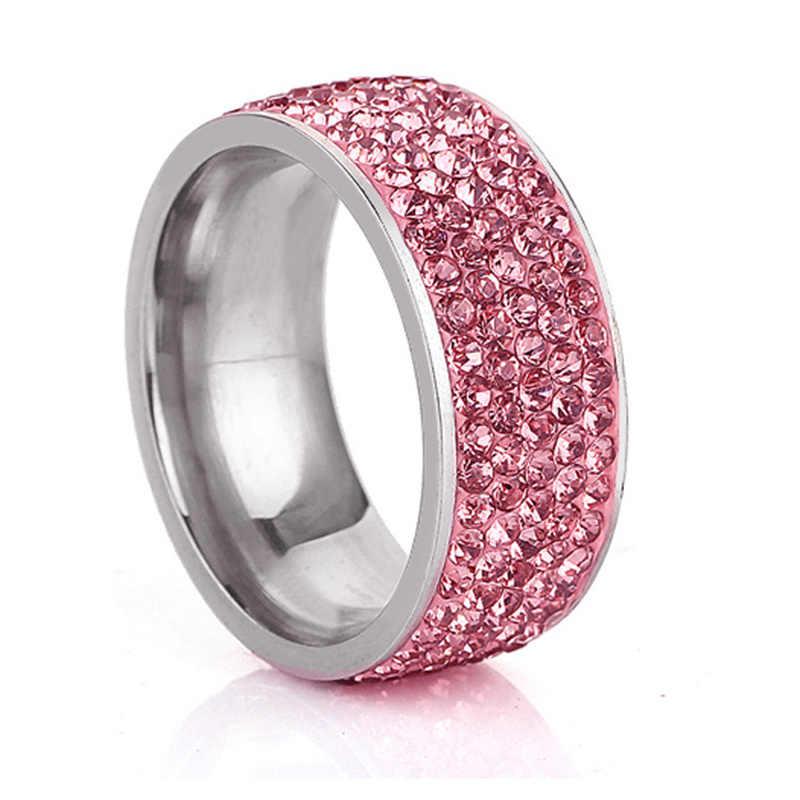 SHUANGR 5 שורה קווי קריסטל ברור כחול זהב צבע טבעות לנשים נירוסטה יוקרה ריינסטון טבעת תכשיטי מתנה anillos