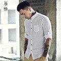 2016 outono novo estilo dos homens camisa dos homens camisas casuais chinês do vintage camisa dos homens de linho de manga Longa fino plus size roupas 3XL Q297