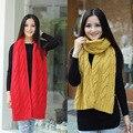 Hotsale 2015 presentes grandes mulheres infinito cachecol de tricô inverno Mais Grosso cachecol lenços de Marca das mulheres de cor sólida cachecol