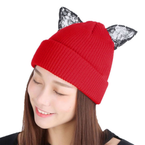 Cute Cat Wool Knitted   Beanies   Hat with Ears Winter Caps Female Party   Skullies     Beanies