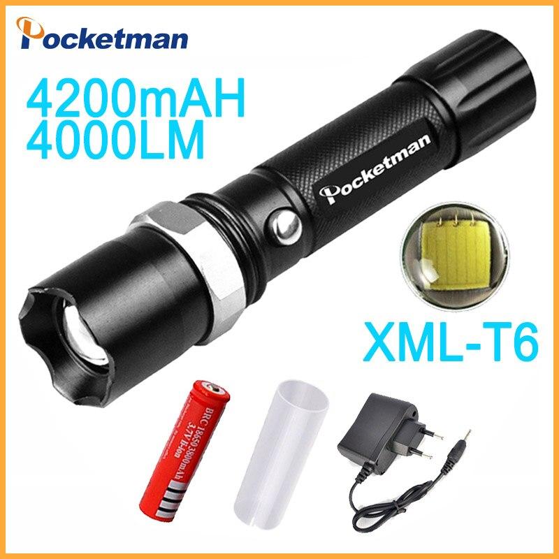 2018 T6 Taschenlampe Lanterna De Led High Power Taschenlampe 4000 Lumen Zoomable 18650 Led Taschenlampe Tatica Licht Laterne Bike