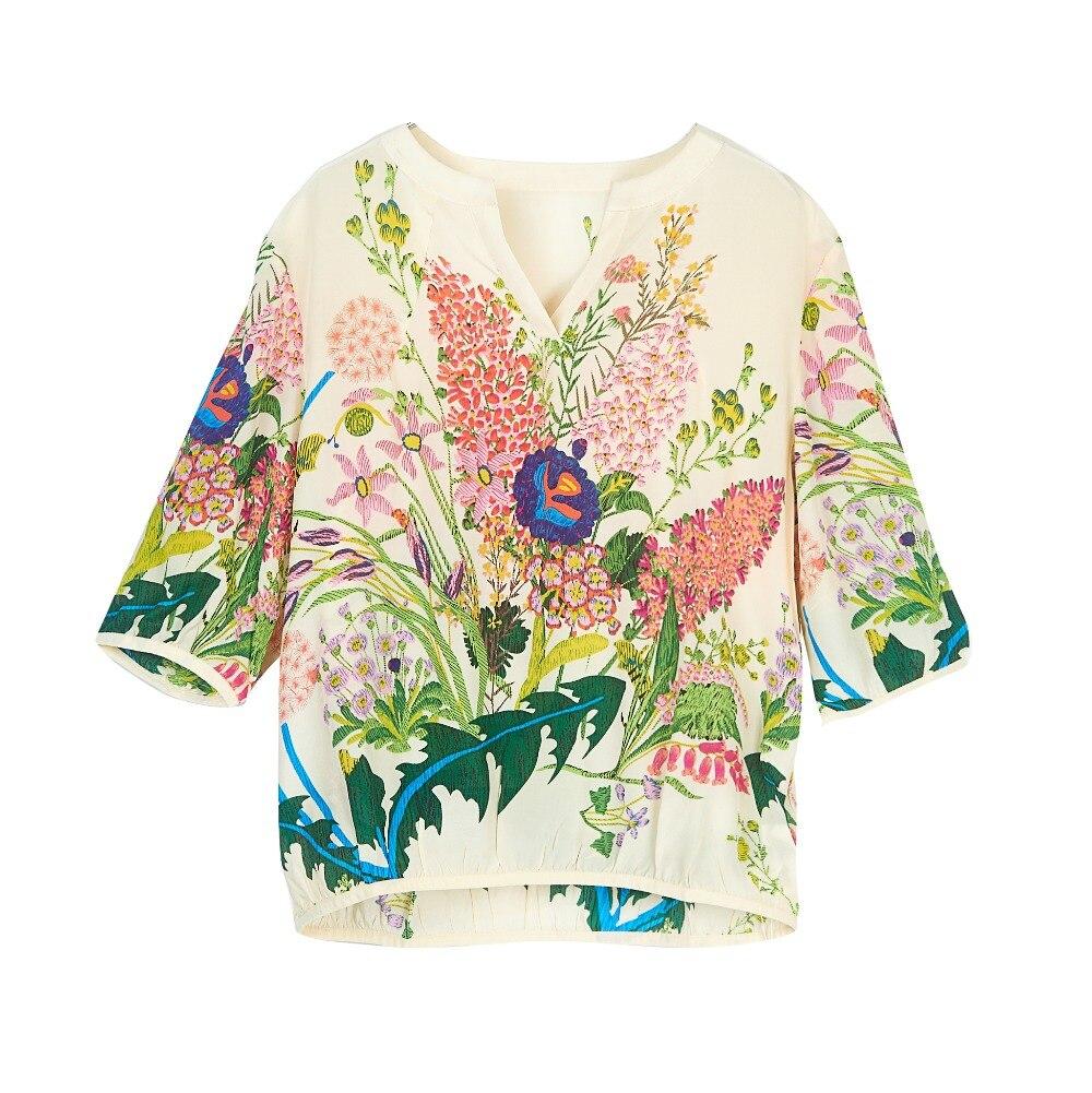 100% Naturel Mulberry Crêpe De Soie chemise femme D'été Imprimé Fleur Soie Moitié Manches chemises femmes Populaire chemisier pour femme Vente Articles