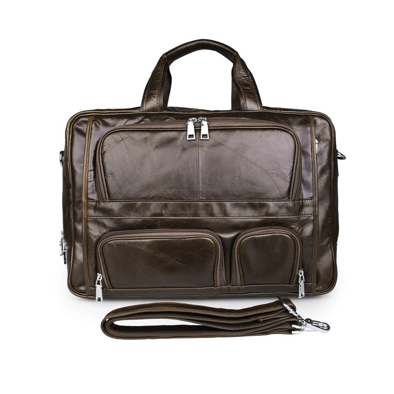 Men Genuine Leather Briefcase Big Real Leather 17 Inch Laptop Bag Large Cow Leather Business Bag 3 Layer Travel Messenger Bag