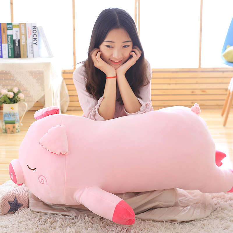 huge lovely plush pink pig pillow toy big sleeping pig doll gift about 100cm the huge lovely hippo toy plush doll cartoon hippo doll gift toy about 160cm pink