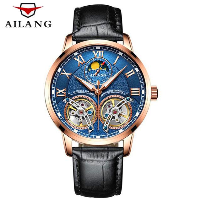 Double Tourbillon Moon phase Watches AILANG Men's Automatic Watch Self-Wind Fashion Men Mechanical Wristwatch Leather 2018 ailang brand men automatic self wind watches leather skeleton tourbillon mechanical clock male rose gold shell watch new