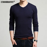 COODRONY All Match V Neck Sweater Men Brand Clothing 2017 New Spring Autumn Dress Knitted Cotton