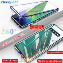 лучшая цена Luxury Magnetic Adsorption Metal Case for Samsung S10 5G S9 S8 Plus Note 9 8 S10e Front Back Glass Full Body Protective Cover