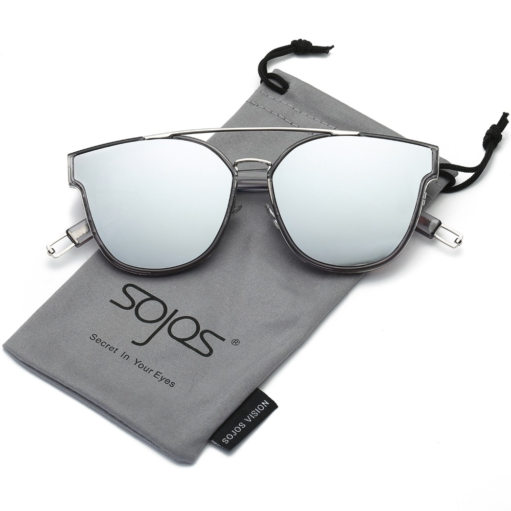 ccc6acc419 Sunglasses Woman Fashion CatEye Metal Frame Oversized Classic Mirrored  Square Sunglasses for Men and Women Double Bridge SJ2038