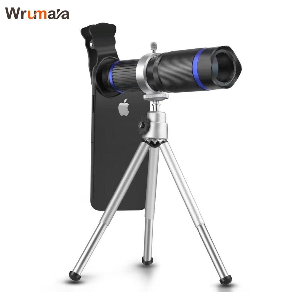 Wrumava Universal Clips 20X Telephoto Telescope Zoom Lens For iPhone X 7 8 Plus Xiaomi Macro Wide Angle Lens with Tripod