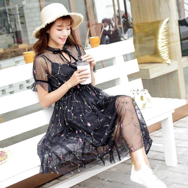 2 Boho Negro Corta Mujer Bordado Unidset Manga Vestido Midi 80ZnOPkNwX