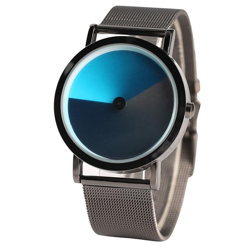Geek Stylish Men Watch Creative Colorful Vortex Dial Stainless Steel Mesh Band Minimalist Spiral Quartz Wristwatch Sci-fi Clocks (17)
