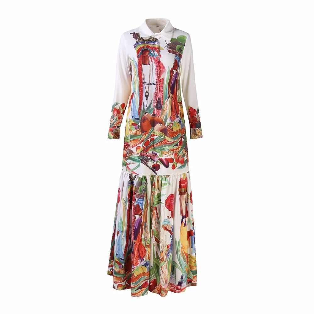 Yüksek Kalite Yeni Moda Pist Turn Down Yaka Maxi Elbise kadın Uzun Kollu Retro Sanat Baskılı Tasarımcı uzun elbise