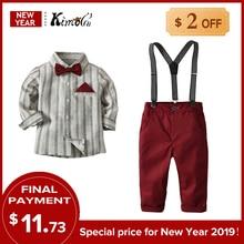 Kimocat Korean Fashion Boy Gentleman Suit Striped Shirt+Bow Tie+Suspender Pants 3Pcs Kid Clothing Formal Clothes Pocket Square