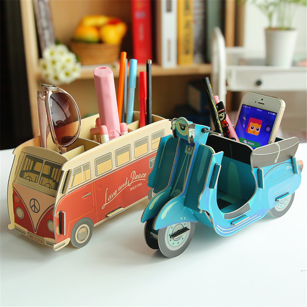 DIY Toy Car Bus Foldable Make Up Storage Box Container Bag Makeup Pen Box Organizer Office Supplies Stationery
