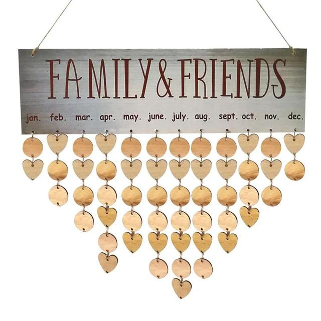2018 DIY Wooden Hanging Calendar Family Friends Birthday Reminder