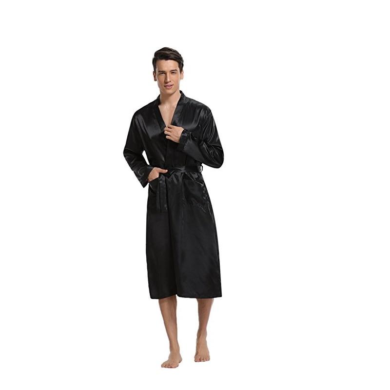 Men Solid Black Night Satin Robe Pyjamas Room Bathrobe Robes Long Satin  Lightweight Sleepwear Gown-in Robes from Underwear   Sleepwears on  Aliexpress.com ... 723fefc66