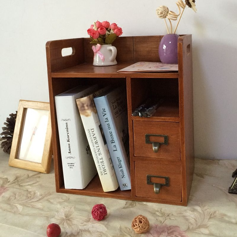 Office Storage Box Drawer Shelves Wooden Furniture Table Small Bookshelf Cosmetics Duster Accessories In Figurines Miniatures From Home