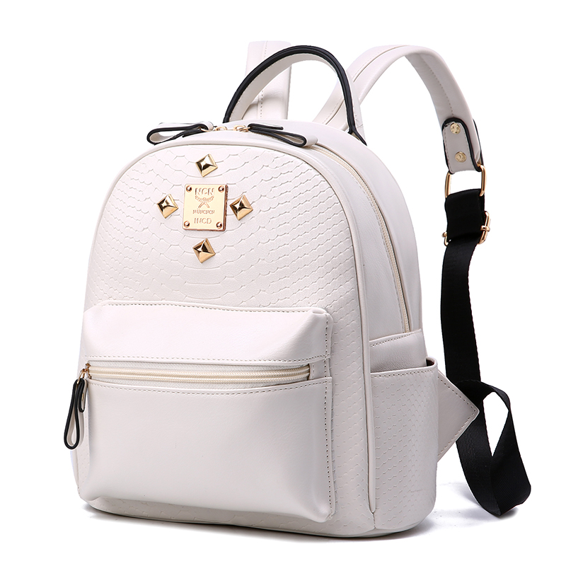 size 27 23 11 new 2017 street fashion woman backpack Solid lines crocodile backpack Decorative metal
