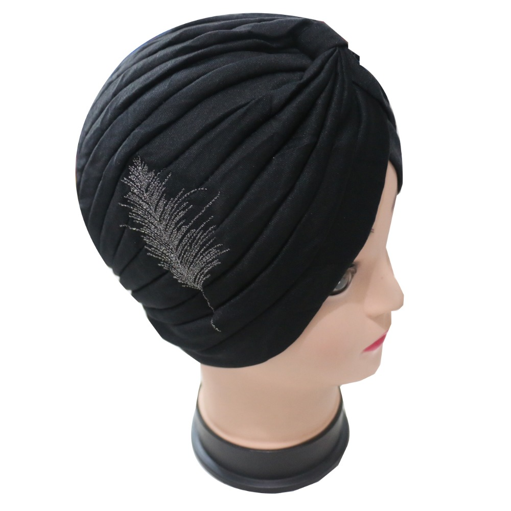 Free Shipping 2017 New Fashion Black Embroidery Feather Turban Hats For Womens women s hats and fascinators vintage sinamay sagittate feather fascinator with headband tocados sombreros bodas free shipping