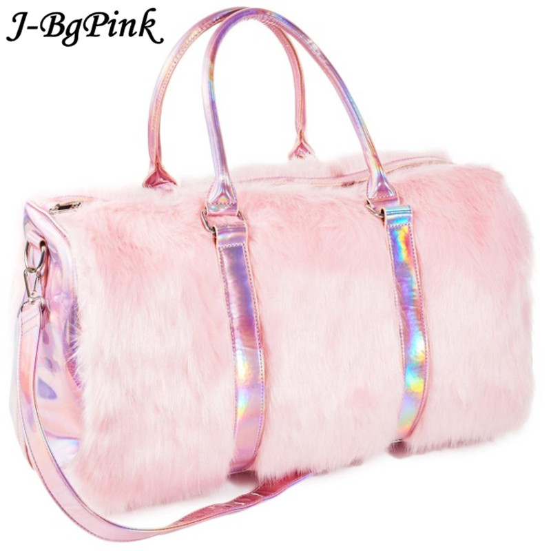 Sweet Girls Soft Rainbow Bags Faux Fur Women Tote Bags Large Capacity Laser Symphony Pink Shoulder
