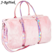 Sweet Girls Soft Rainbow Bags Faux Fur Women Tote Large Capacity Laser Symphony Pink Shoulder BagsTravel Boston