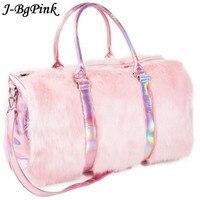 Sweet Girls Soft Rainbow Bags Faux Fur Women Tote Bags Large Capacity Laser Symphony Pink Shoulder BagsTravel Boston Bags
