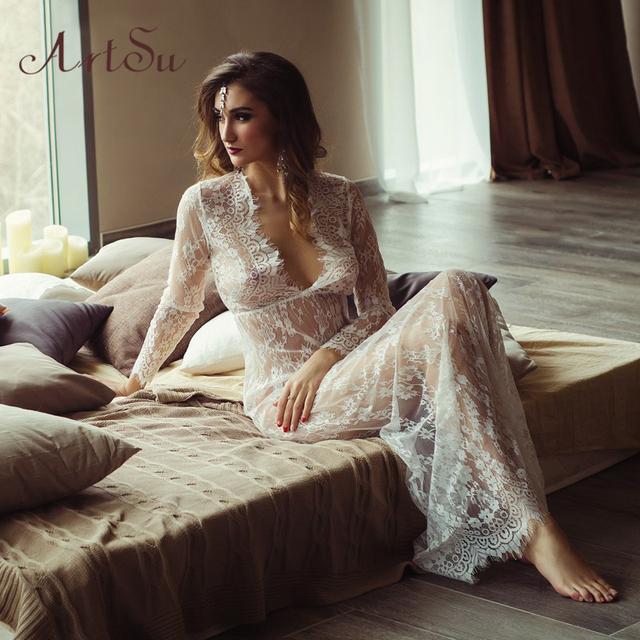Women Transperent Lace Dress Floor-Length
