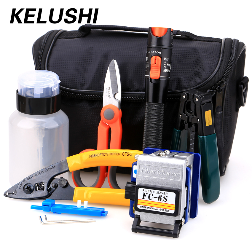 KELUSHI 15 stks / set FTTH Fibre Optic Tool Kit met FC-6S Fibre Cleaver en 10 mW Visual Fault Locator Glasvezelstripper