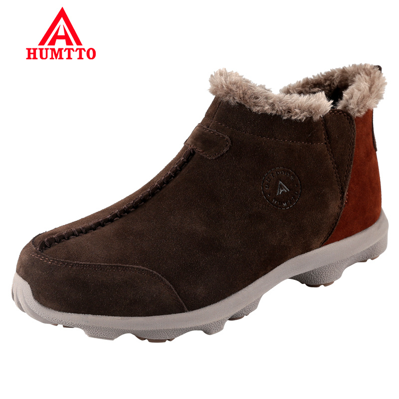 Hot Sale Hiking Shoes Winter Genuine Leather Outdoor Trekking Boots Climbing Mens Sneakers for Men Male Walking Plus Lightwei yin qi shi man winter outdoor shoes hiking camping trip high top hiking boots cow leather durable female plush warm outdoor boot