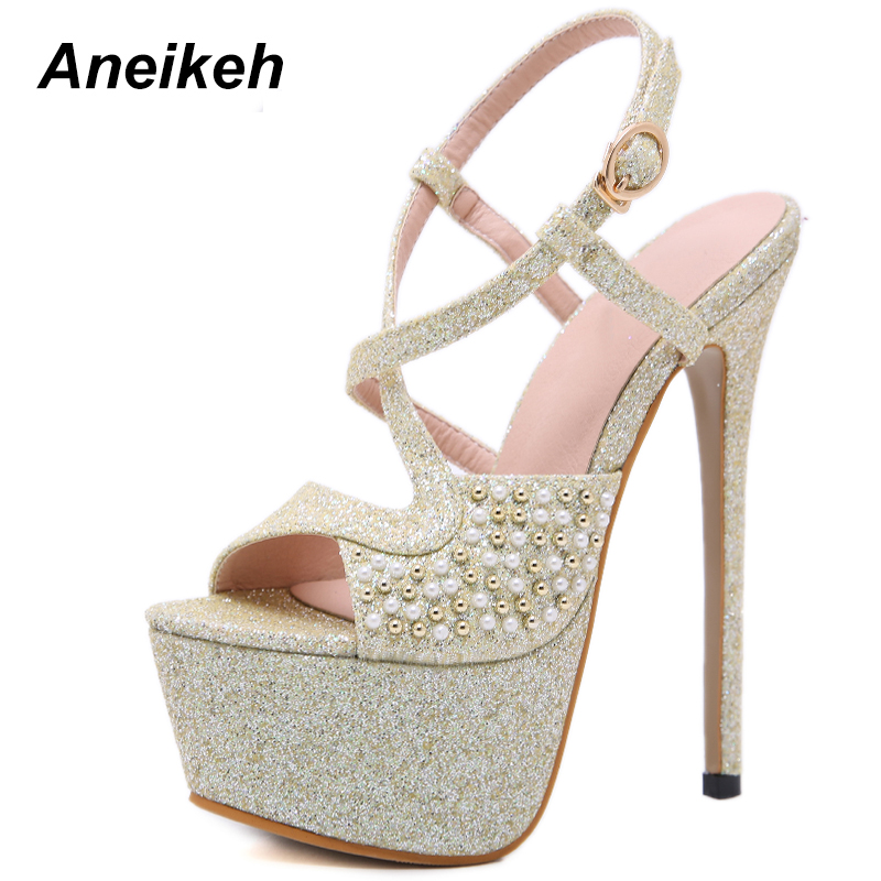 Aneikeh NEW Fashion 2019 Summer Gladiator Sandals For Women Platform Shoes  Sexy 16 CM High Heels e0d476a18138