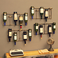 European wall wine rack pendant creative wrought iron bar decoration rack wall hanging display wall wine rack