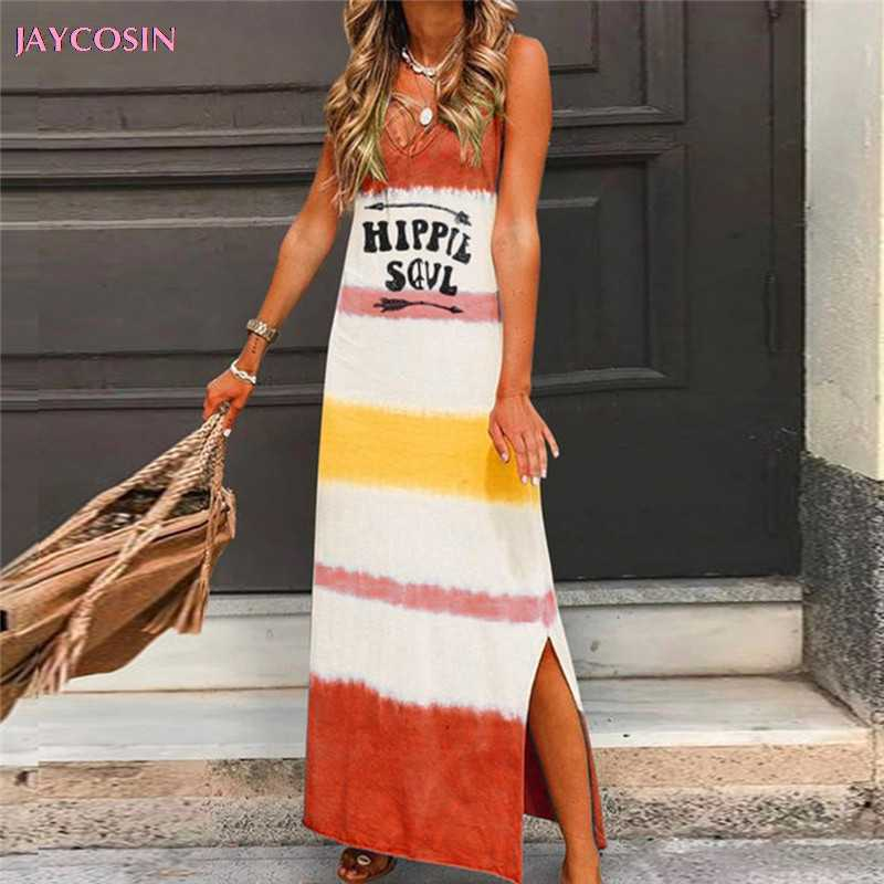 JAYCOSIN 2019 Seasonal Dress Fashion Women Sleeveless V Neck Letter Printed Long Maxi Beach Dress Plus Size S- 2XL Drop #0713