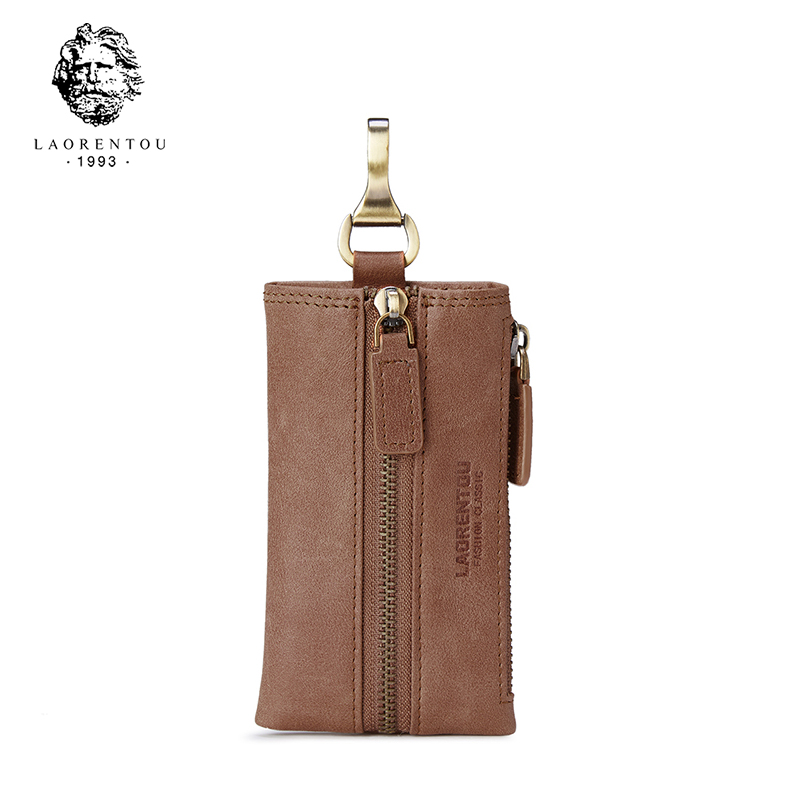 Laorentou 100% Genuine Leather Men Key Wallets Vintage Business Men Zipper Key Case Pouch Bag Unique Key Holder Small Wallet N45