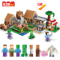 My World The Farm Cottage Building Blocks Technic Compatible Minecrafted Village House Figures Brick Toys For Children