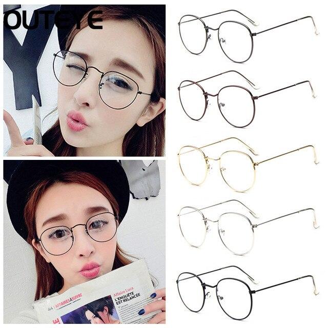 1201d34c31 OUTEYE Vintage Women Eye Glasses Frames Plain Mirror Literary Harajuku Big  Metal Oval Frame Glasses Femme Feminino