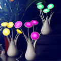2016 New Arrive Elegant USB LED Novelty Flower Vase LED lamp intelligent light control USB vase lamps three colors free shipping