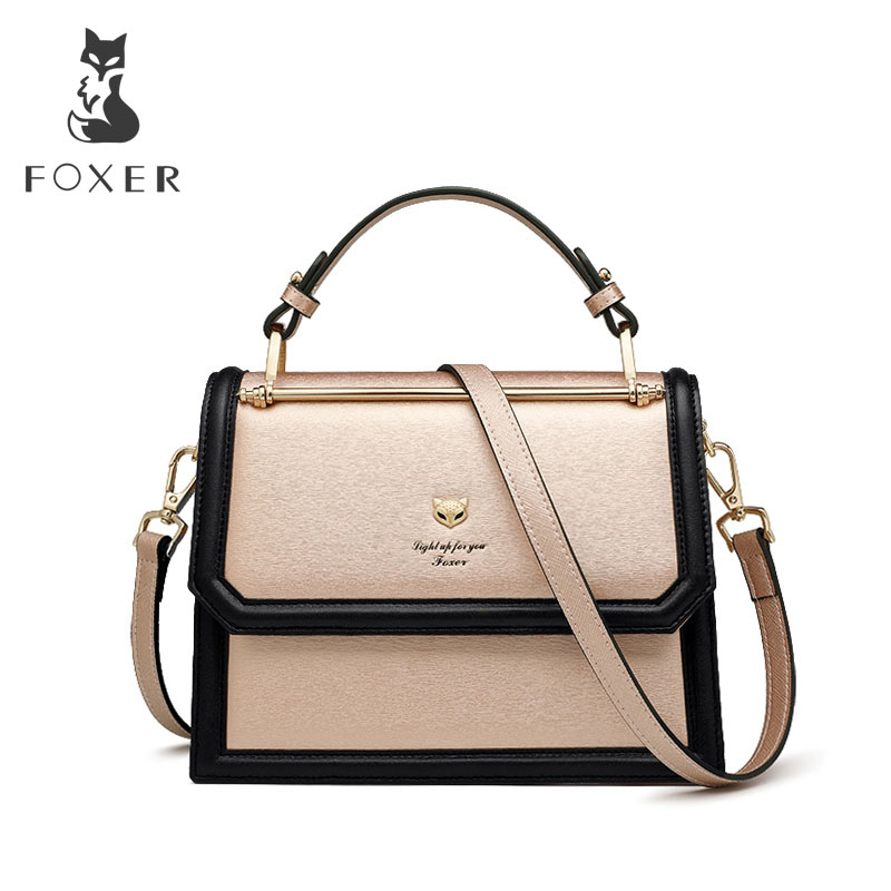 FOXER Brand Women s Crossbody bags Accordion Design Shoulder Bags Split Leather Messenger Bags Female New