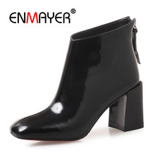 ENMAYER Women Ankle Boots High Heels Boots Back Zipper Winter Cow Leather Fashion Shoes Square toe Square Heels Causal CR892