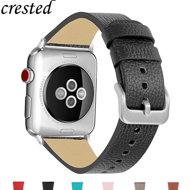 Correa de cuero genuino para Apple reloj 42mm 38mm pulsera estilo clásico pulseras de pulsera para iwatch series 3 2 1 correa del reloj