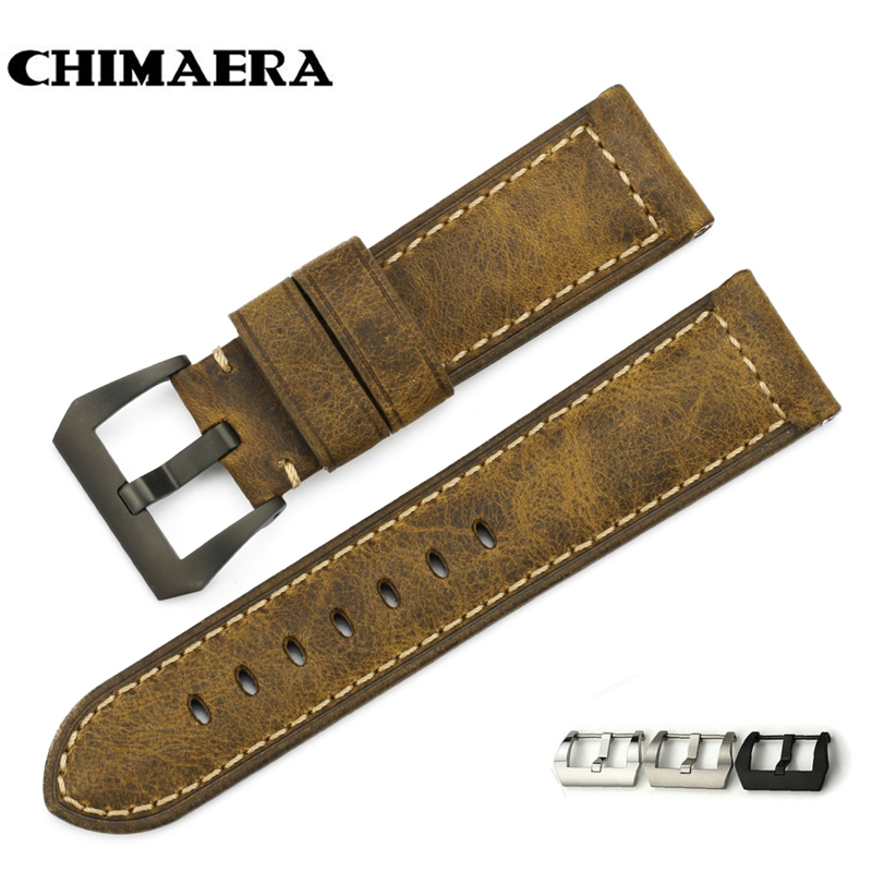 CHIMAERA 24mm Handmade Italian Vintage Genuine Leather Watch Band Strap Pre-v Buckle Option Watchband Strap for Panerai PAM22mm все цены
