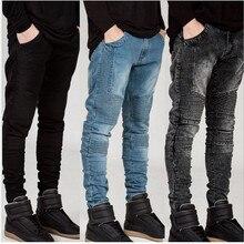 Мужские Узкие джинсы мужчин 2016 Впп Проблемные эластичный джинсы Омывается черный синий джинсы хип-хоп брюки мужчины Байкер джинсы