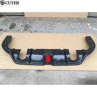 Car body kit Carbon fiber rear bumper diffuser with LED Pilot lights for Honda Civic 10TH 16 17