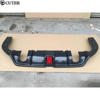 Car body kit Carbon fiber rear bumper diffuser with LED Pilot lights for Honda Civic 10TH 16 17