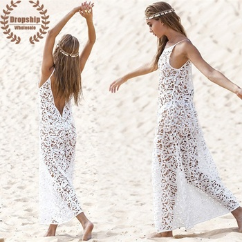 c4c712a2 Caliente blanco bordado Bikini cubrir para mujer SEXY encaje playa túnica  elegante dulce transparente vestido traje de baño cubierta- sexy