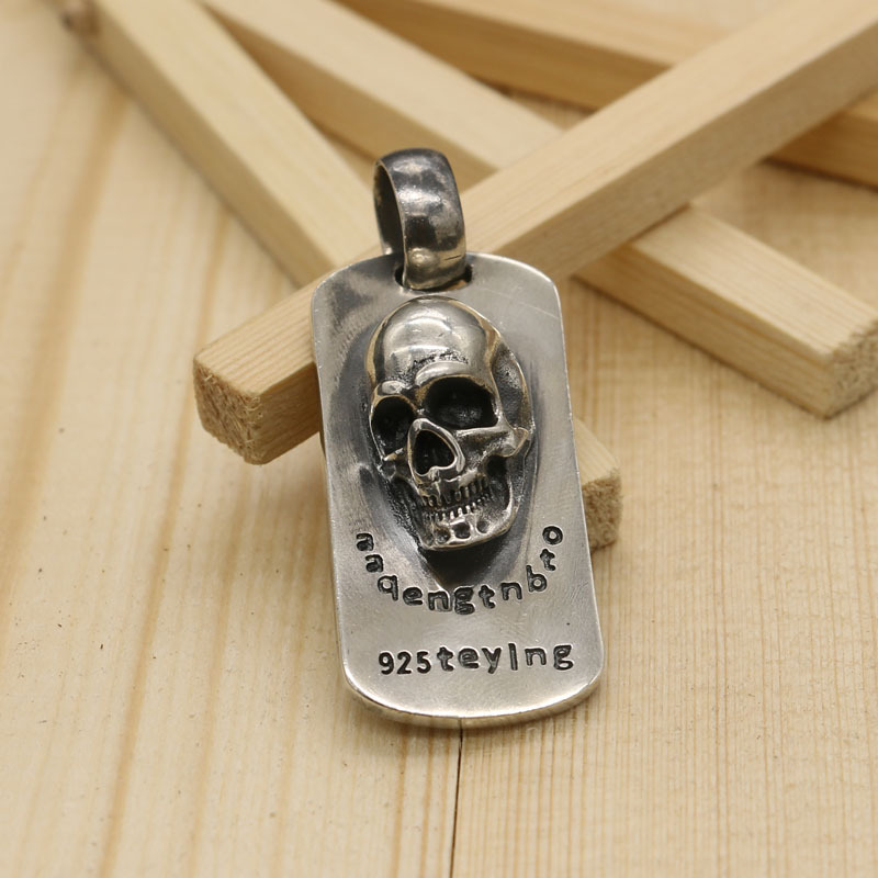 Sterling Silver Skeleton Pendant Tag Punk Rock Wind Retro Necklace Thai Silver Domineering Military Pendant Male