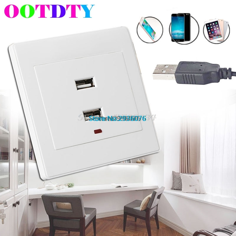 Dual USB Wall Sockets Charger ACDC Power Adapter Plug Outlet Plate Panel With LED Indicator