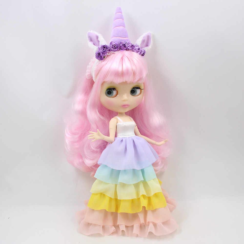 Одежда для 1/6 года, Blyth кукольная одежда с изображением единорога, платье с накидкой и лентой для волос, милое платье принцессы, подарок для девочки, ледяная BJD, игрушка