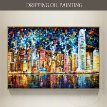 Artist Design Colorful Hong Kong Landscape Oil Painting on Canvas Hand-painted Hong Kong Night Oil Painting for Living Room вибратор hong kong might give my love