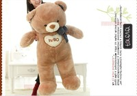 The lovely bow Teddy bear doll heart hello bear plush toy doll birthday gift brown about 130cm